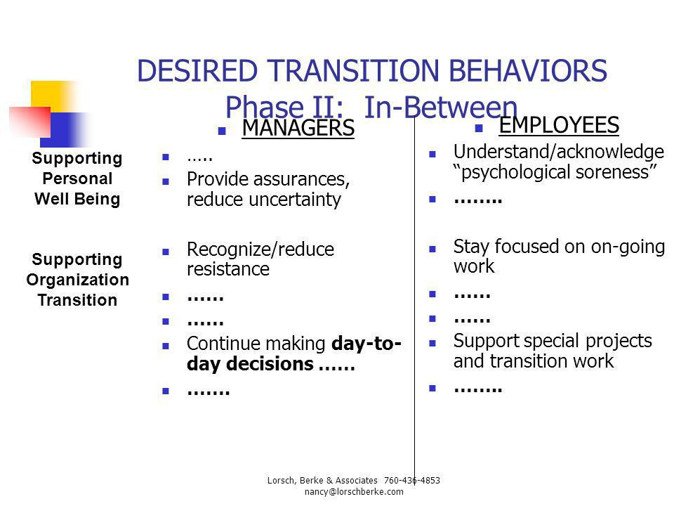 DESIRED TRANSITION BEHAVIORS Phase II: In-Between