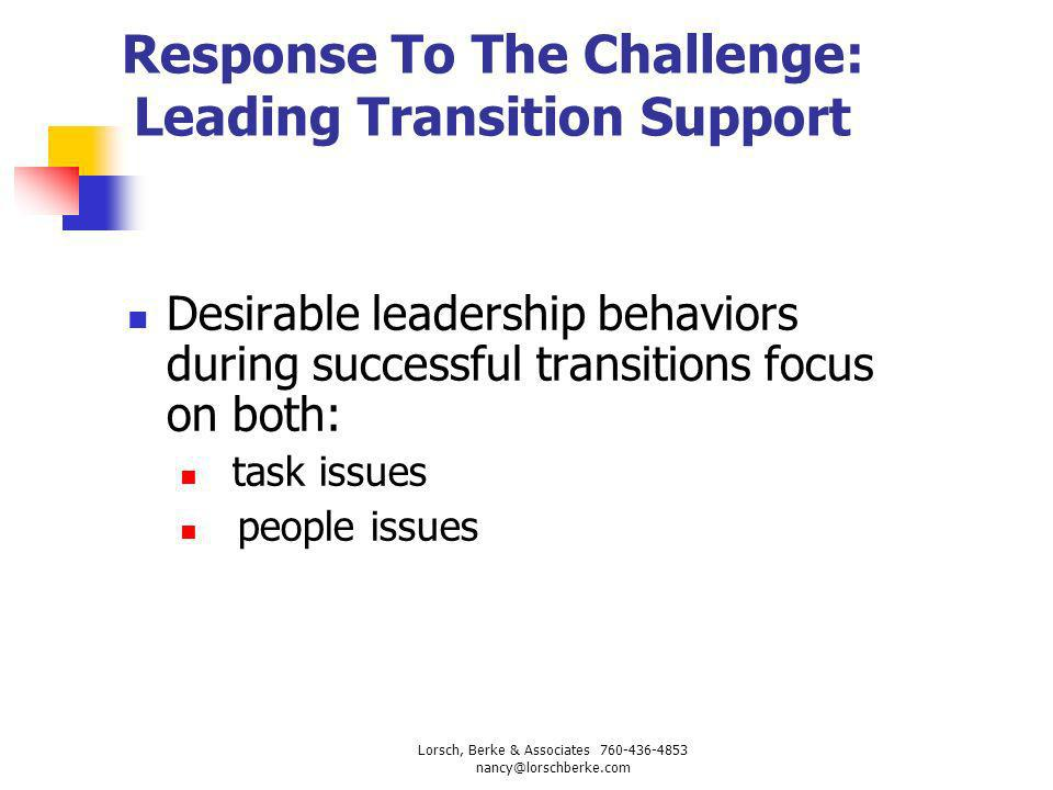 Response To The Challenge: Leading Transition Support