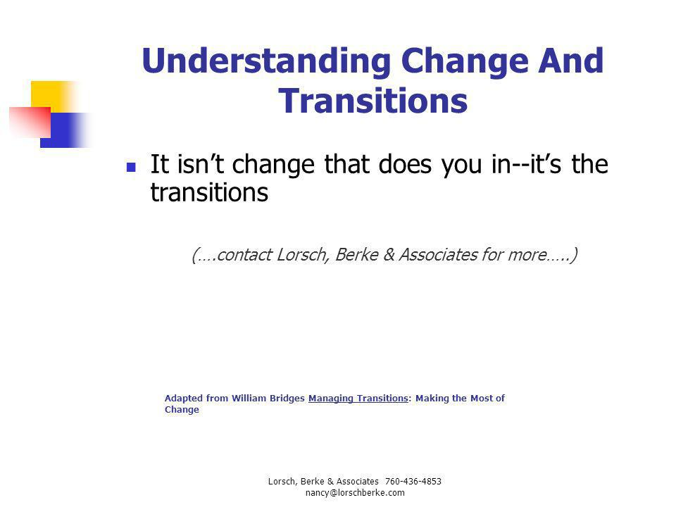 Understanding Change And Transitions