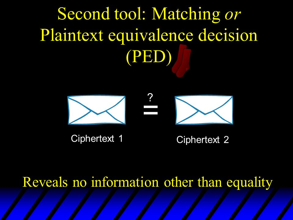 Second tool: Matching or Plaintext equivalence decision (PED)