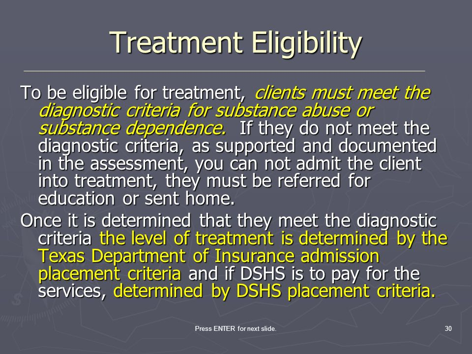Treatment Eligibility