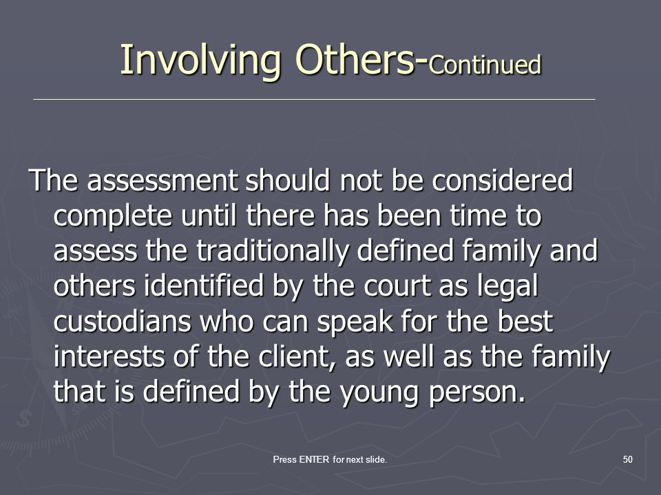 Involving Others-Continued
