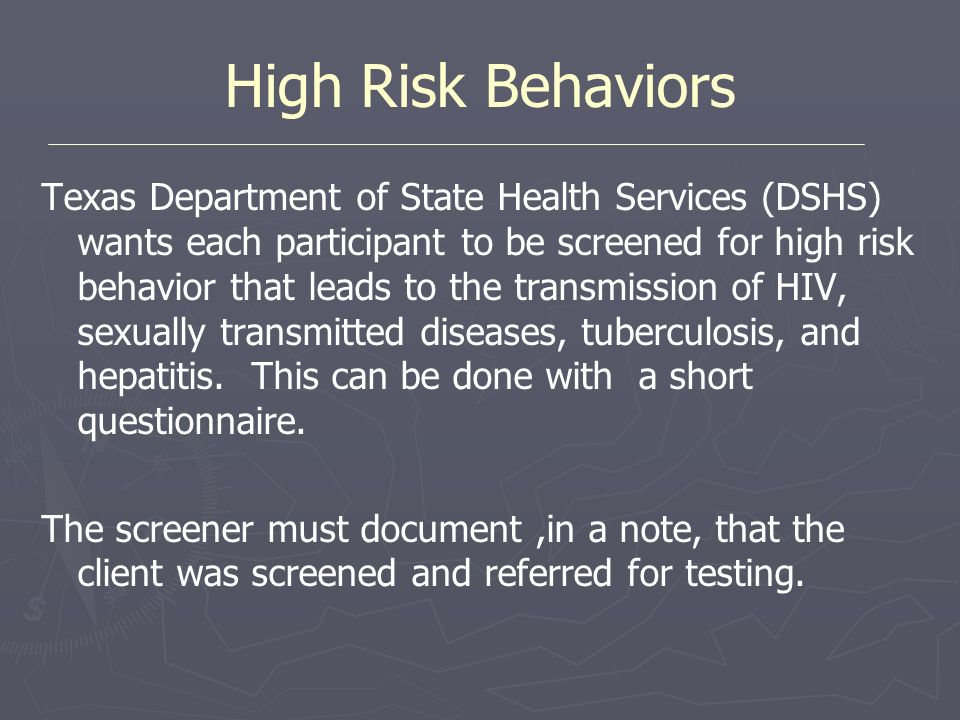 High Risk Behaviors