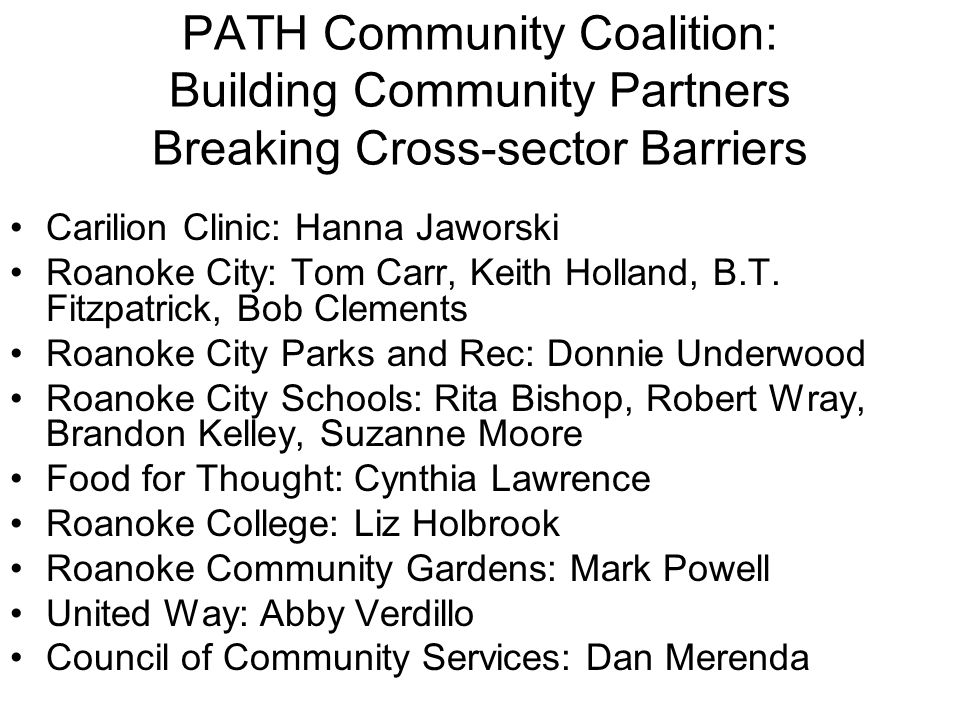 PATH Community Coalition: Building Community Partners Breaking Cross-sector Barriers
