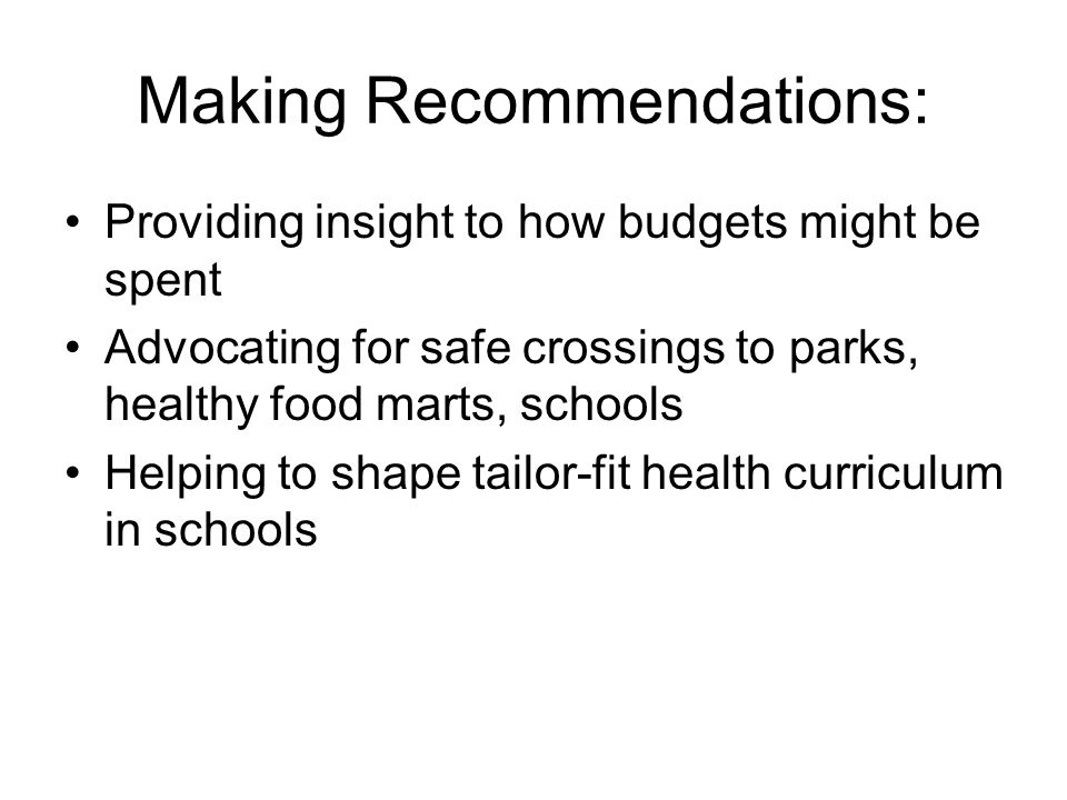 Making Recommendations: