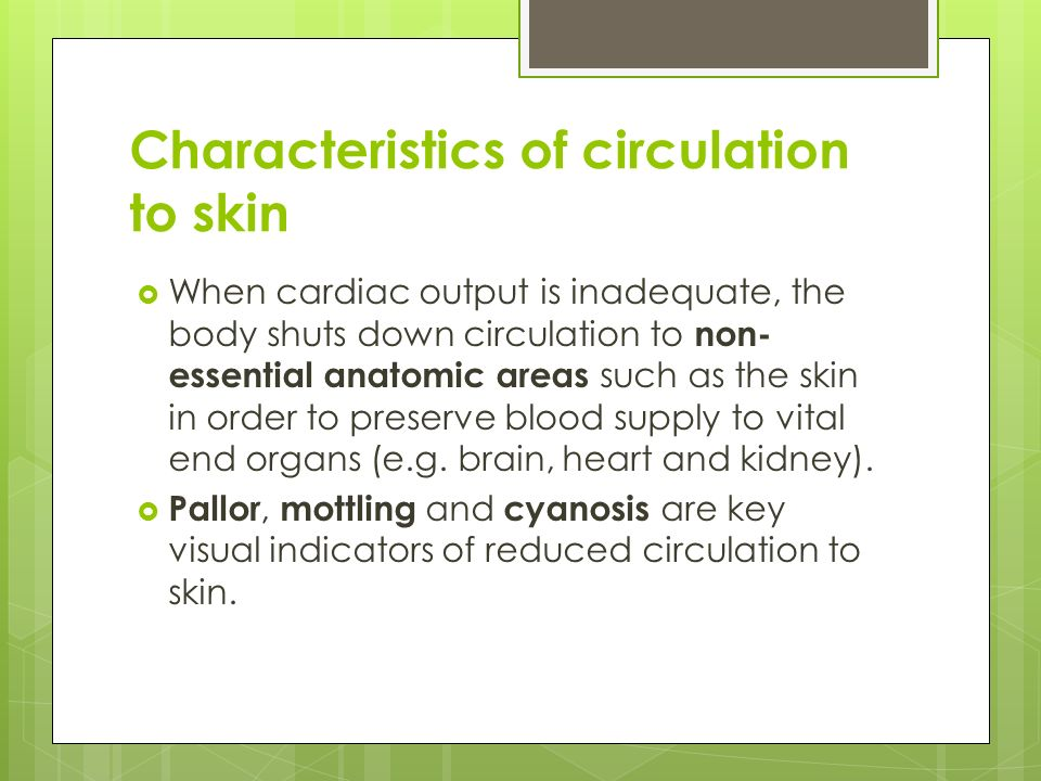 Characteristics of circulation to skin