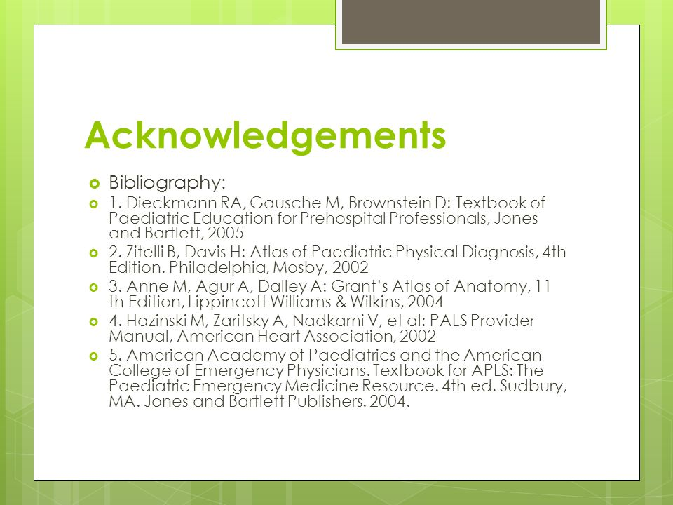 Acknowledgements Bibliography: