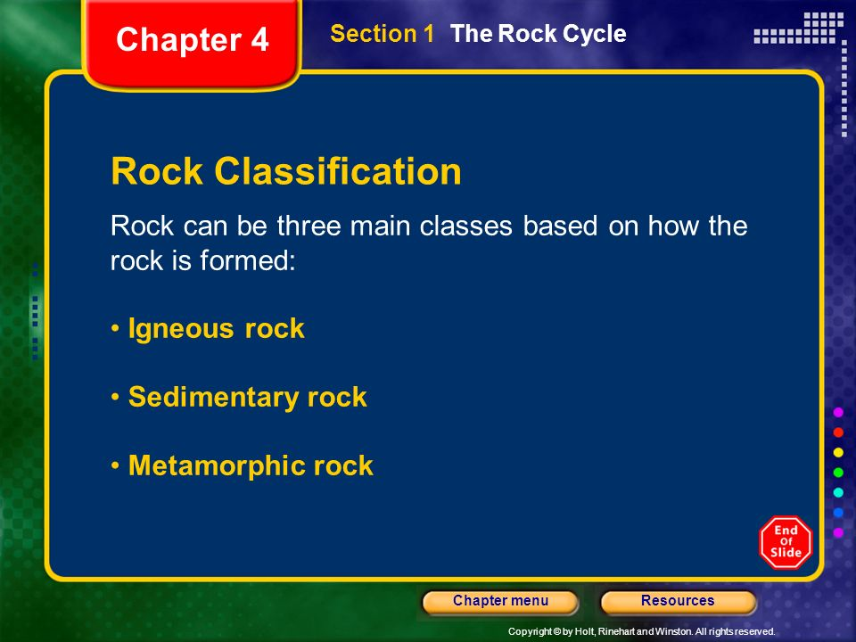 Rock Classification Chapter 4