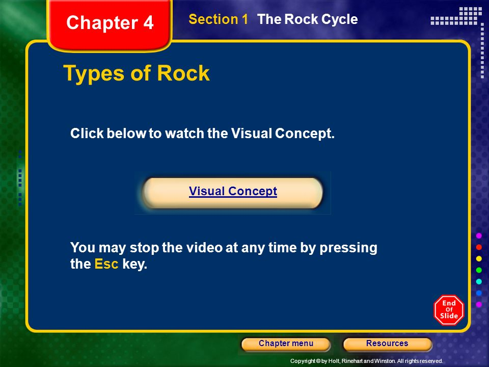 Types of Rock Chapter 4 Section 1 The Rock Cycle