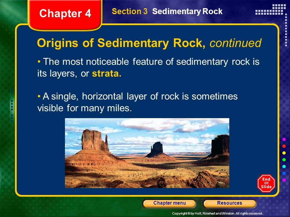 Origins of Sedimentary Rock, continued
