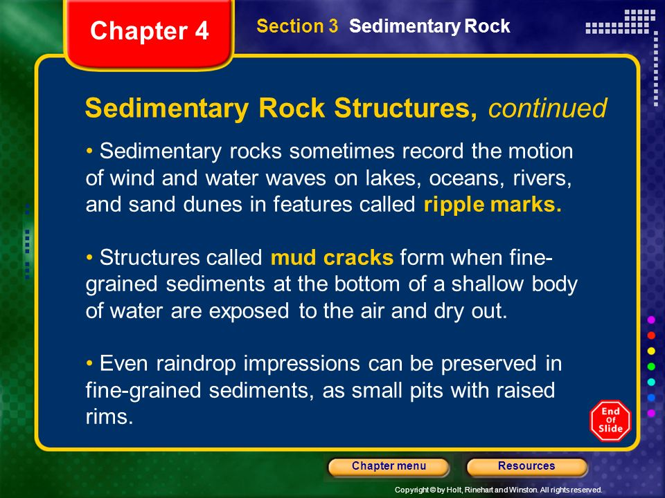 Sedimentary Rock Structures, continued