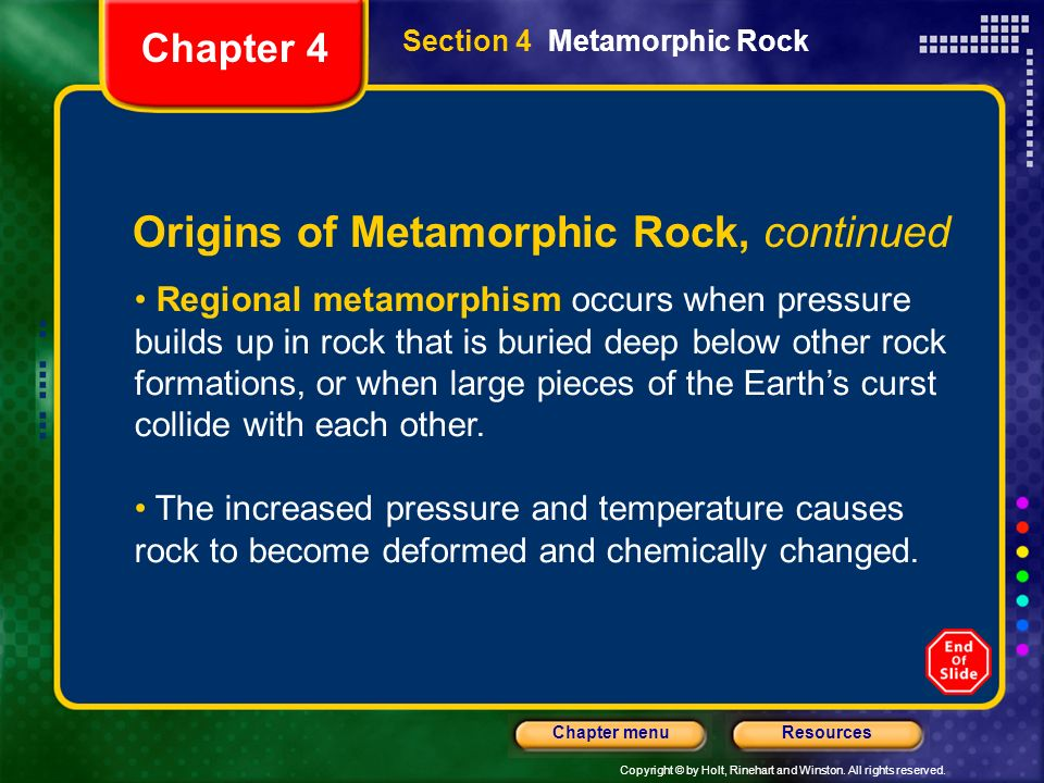 Origins of Metamorphic Rock, continued