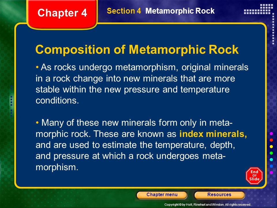 Composition of Metamorphic Rock