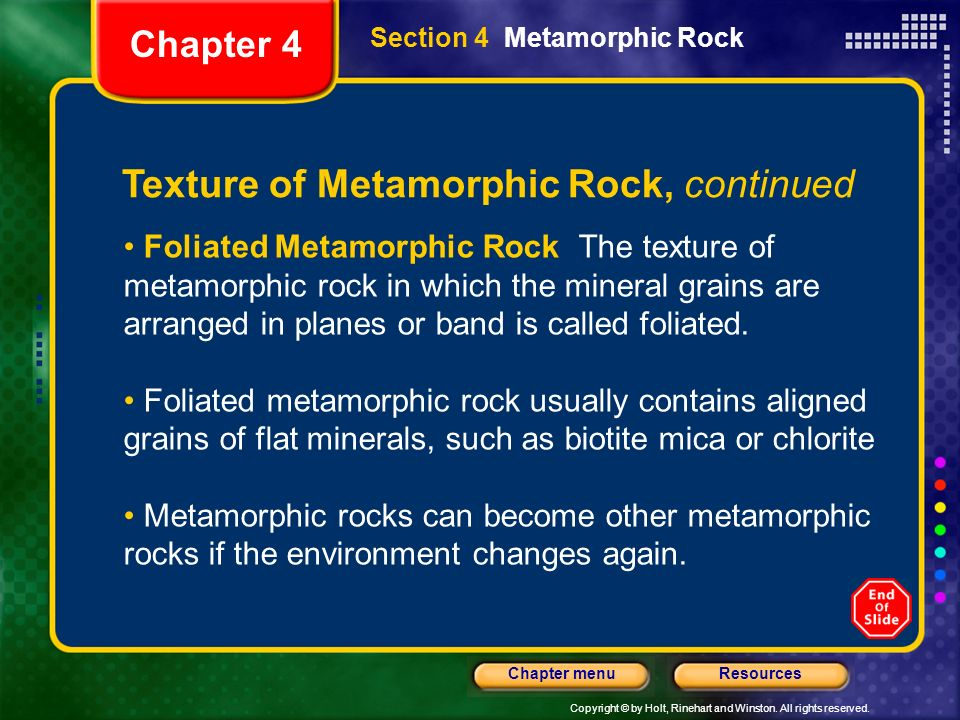 Texture of Metamorphic Rock, continued