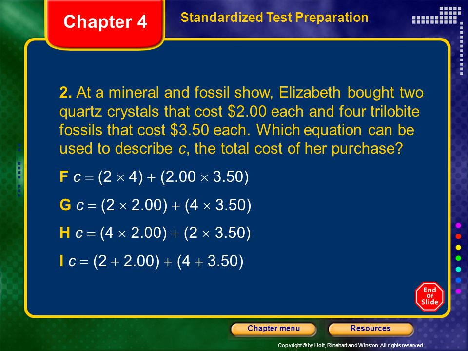 Chapter 4 Standardized Test Preparation.