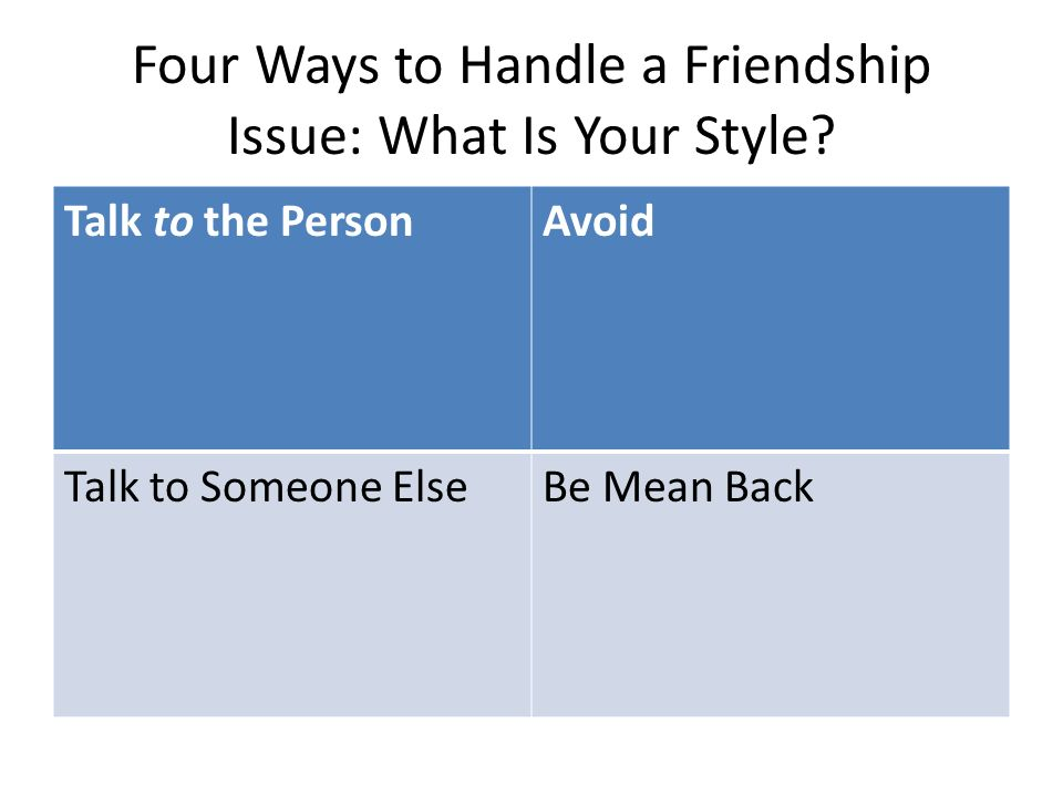 Four Ways to Handle a Friendship Issue: What Is Your Style