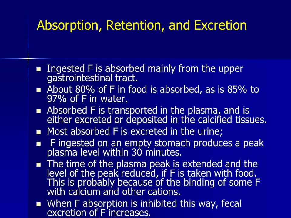 Absorption, Retention, and Excretion
