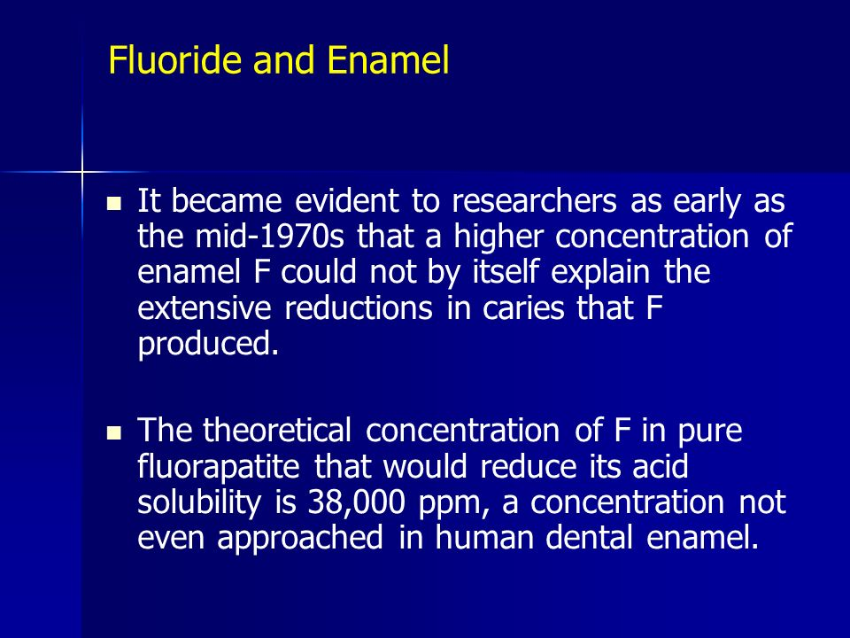 Fluoride and Enamel