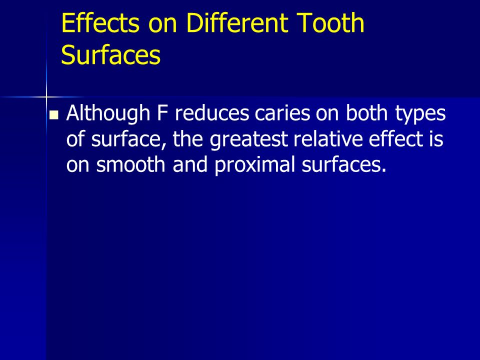 Effects on Different Tooth Surfaces