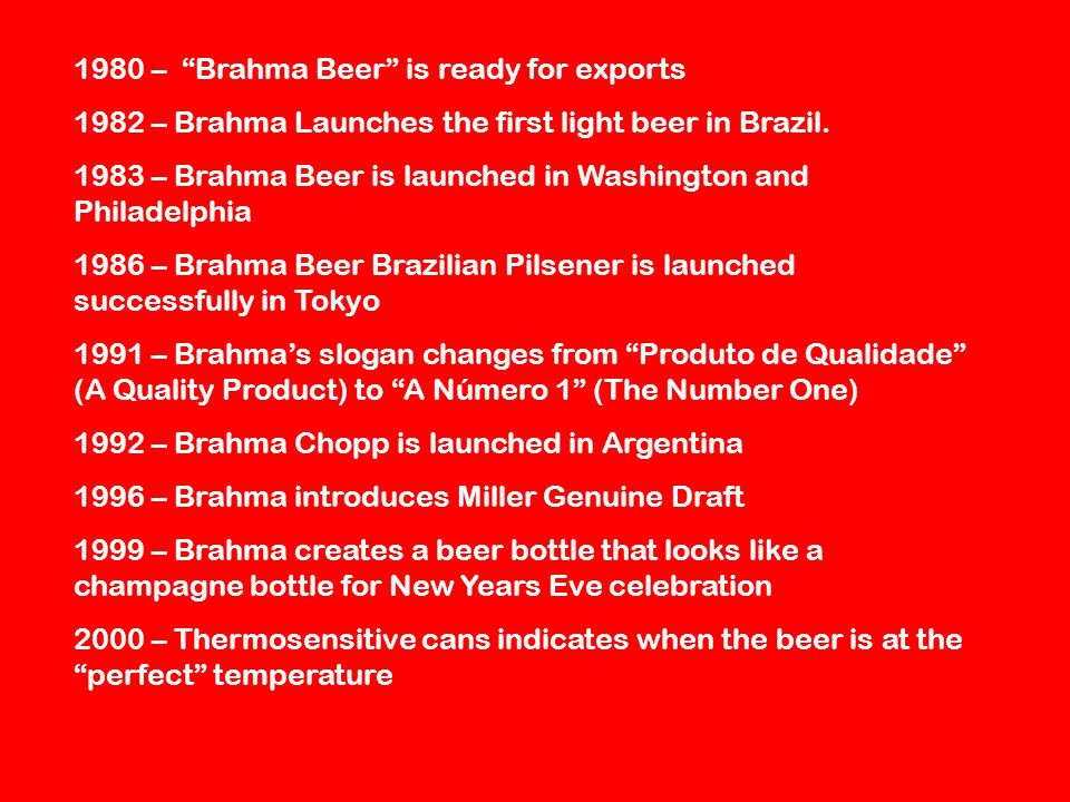 1980 – Brahma Beer is ready for exports