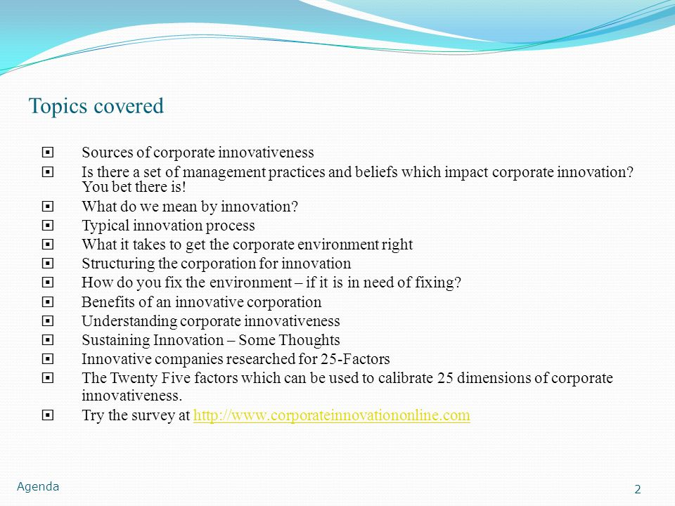 Topics covered Sources of corporate innovativeness