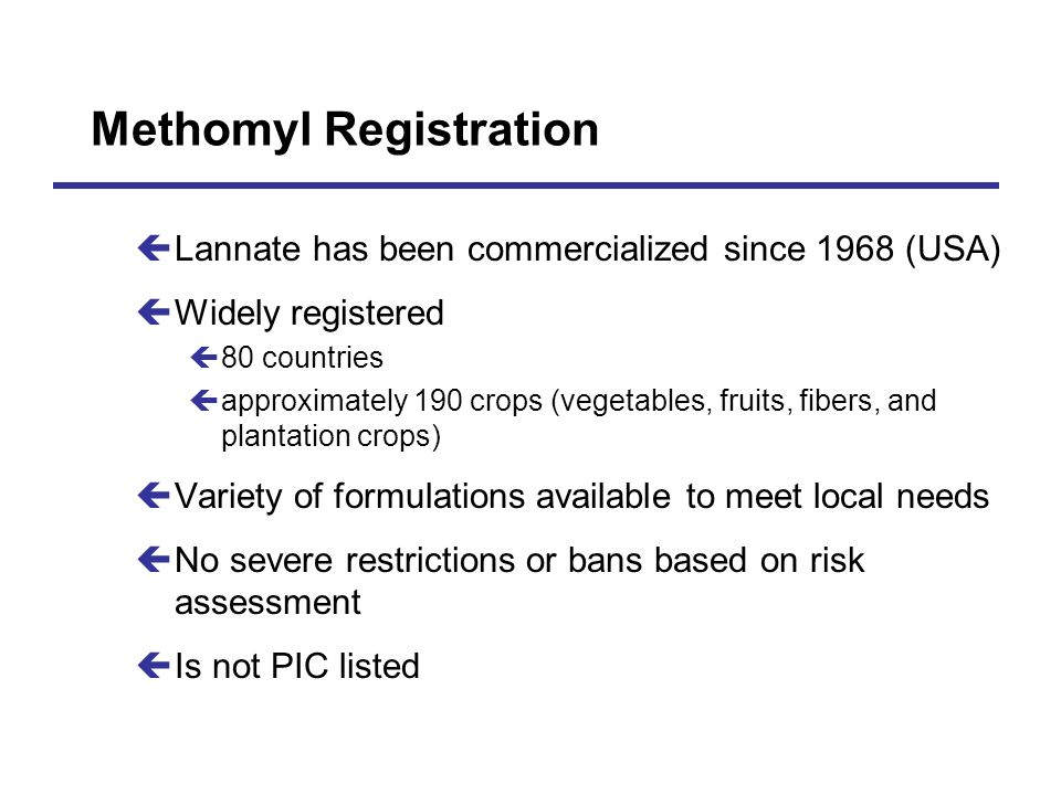 Methomyl Registration