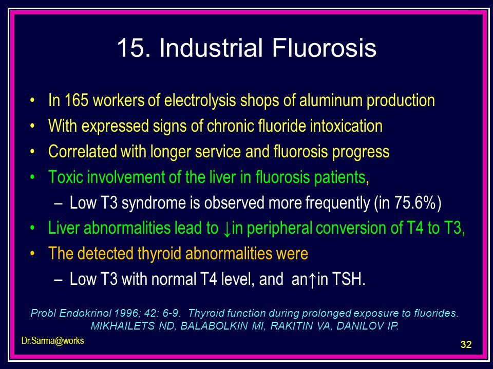 15. Industrial Fluorosis In 165 workers of electrolysis shops of aluminum production. With expressed signs of chronic fluoride intoxication.