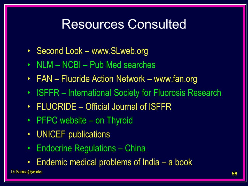 Resources Consulted Second Look – www.SLweb.org