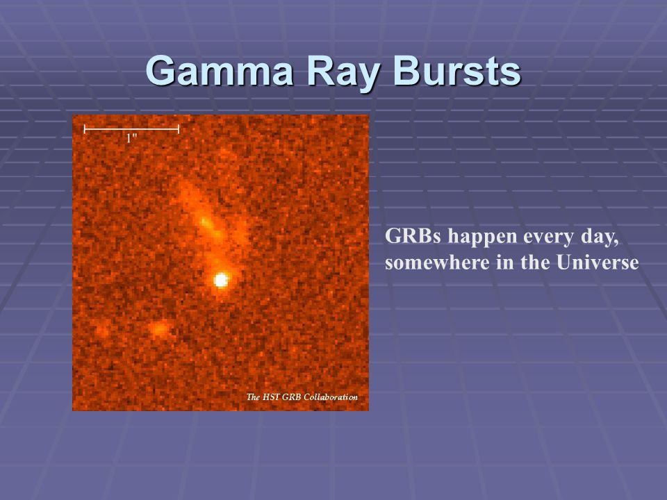Gamma Ray Bursts GRBs happen every day, somewhere in the Universe