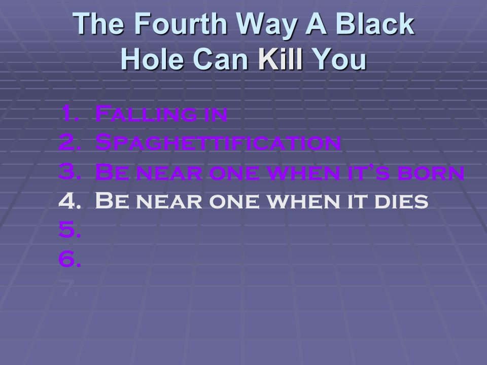 The Fourth Way A Black Hole Can Kill You