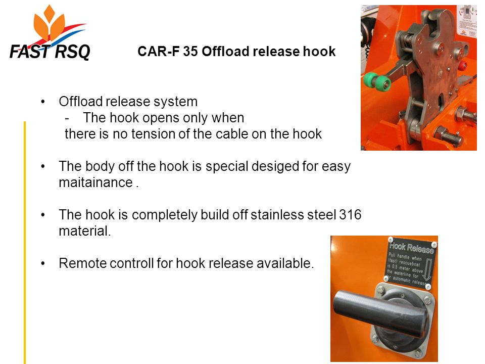CAR-F 35 Offload release hook