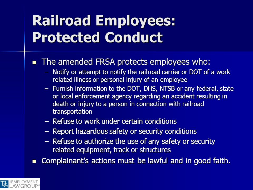 Railroad Employees: Protected Conduct
