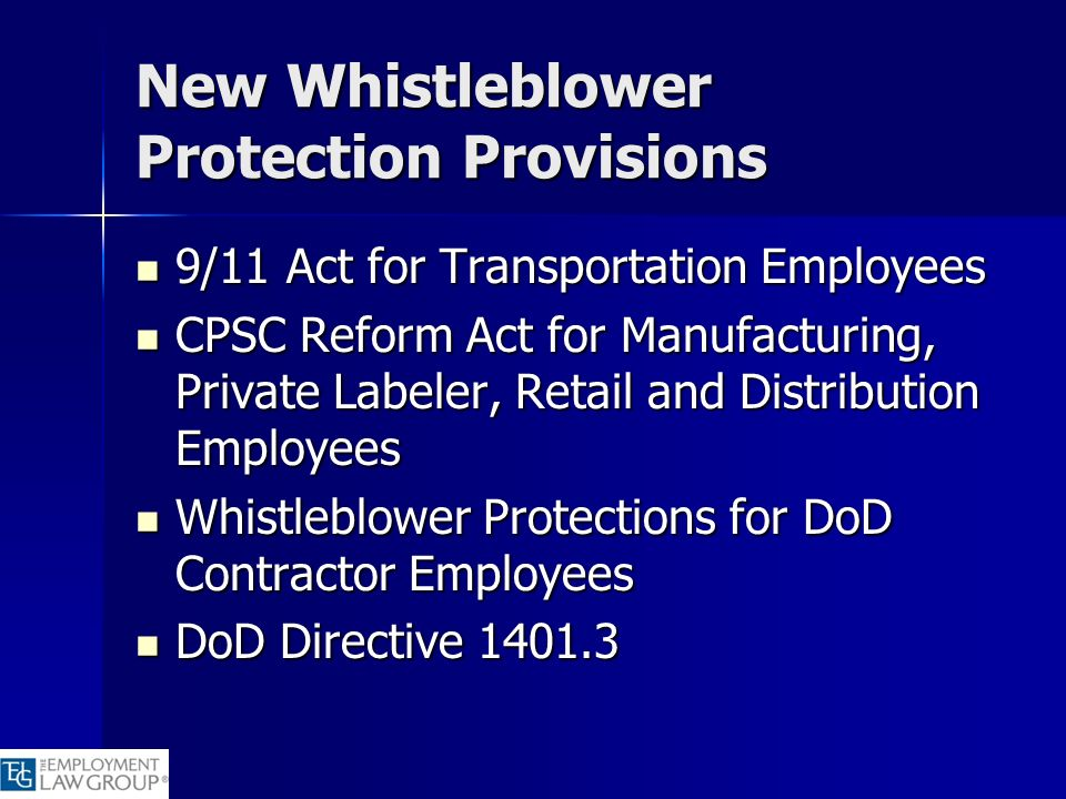 New Whistleblower Protection Provisions