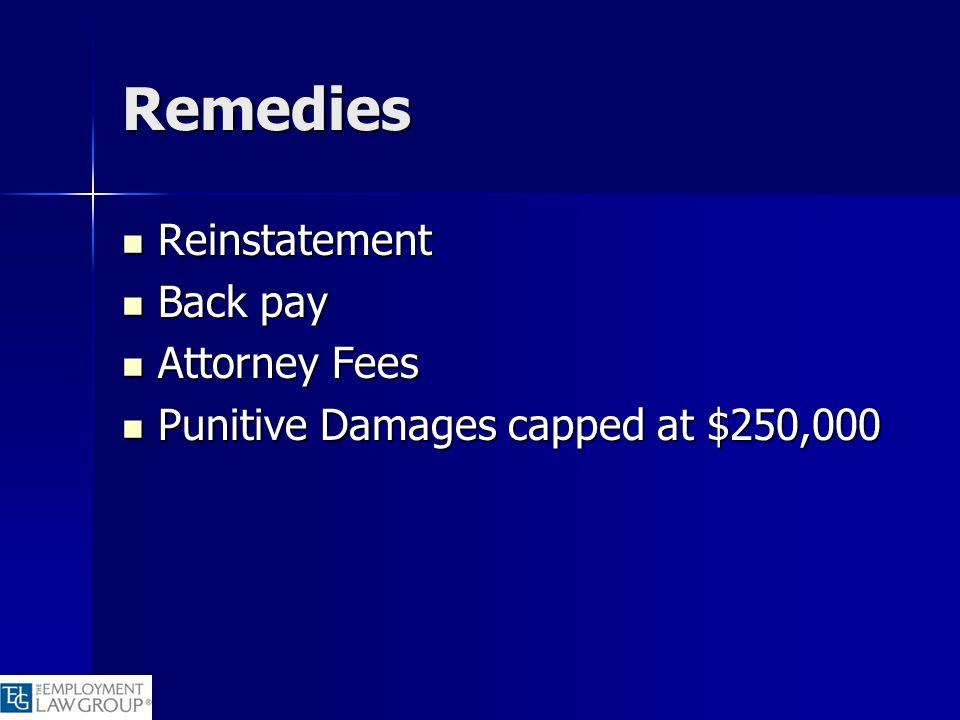Remedies Reinstatement Back pay Attorney Fees