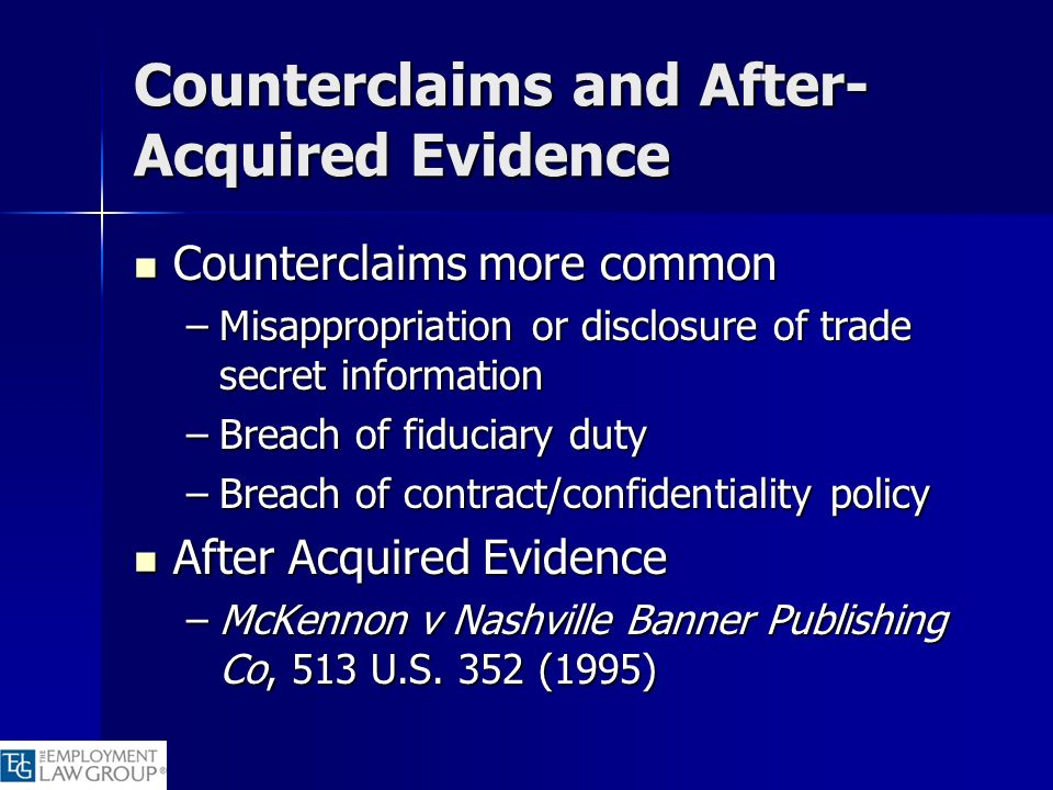 Counterclaims and After-Acquired Evidence