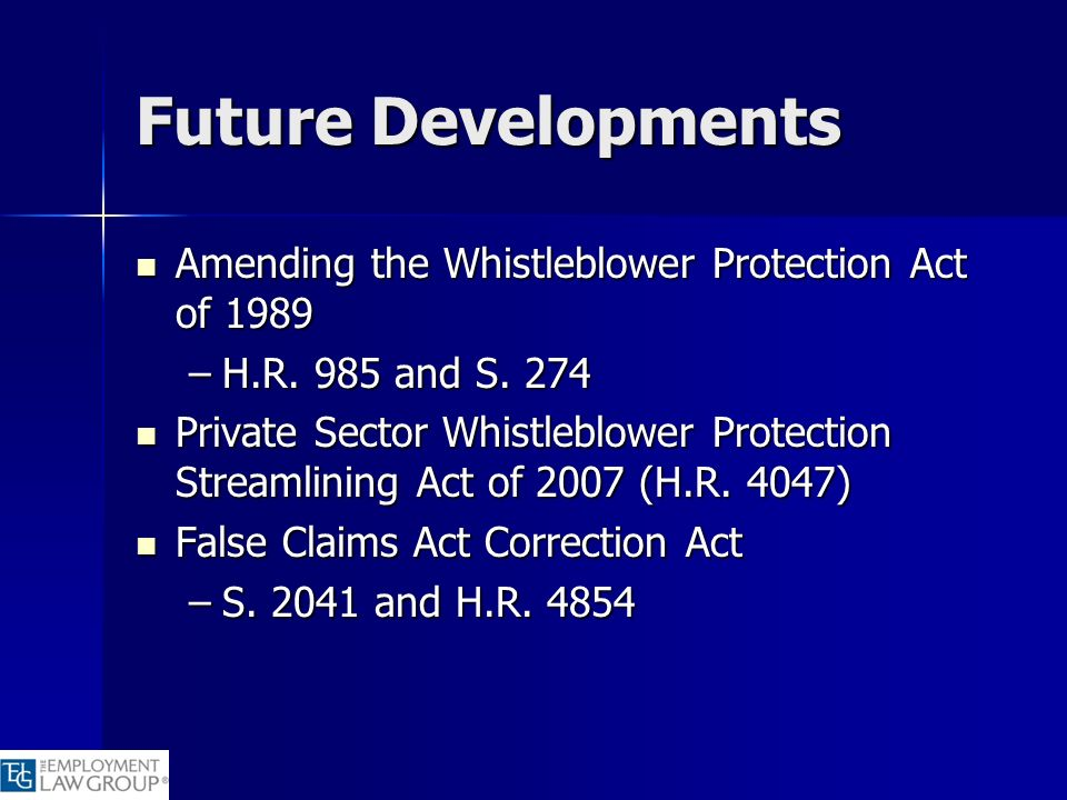 Future Developments Amending the Whistleblower Protection Act of 1989