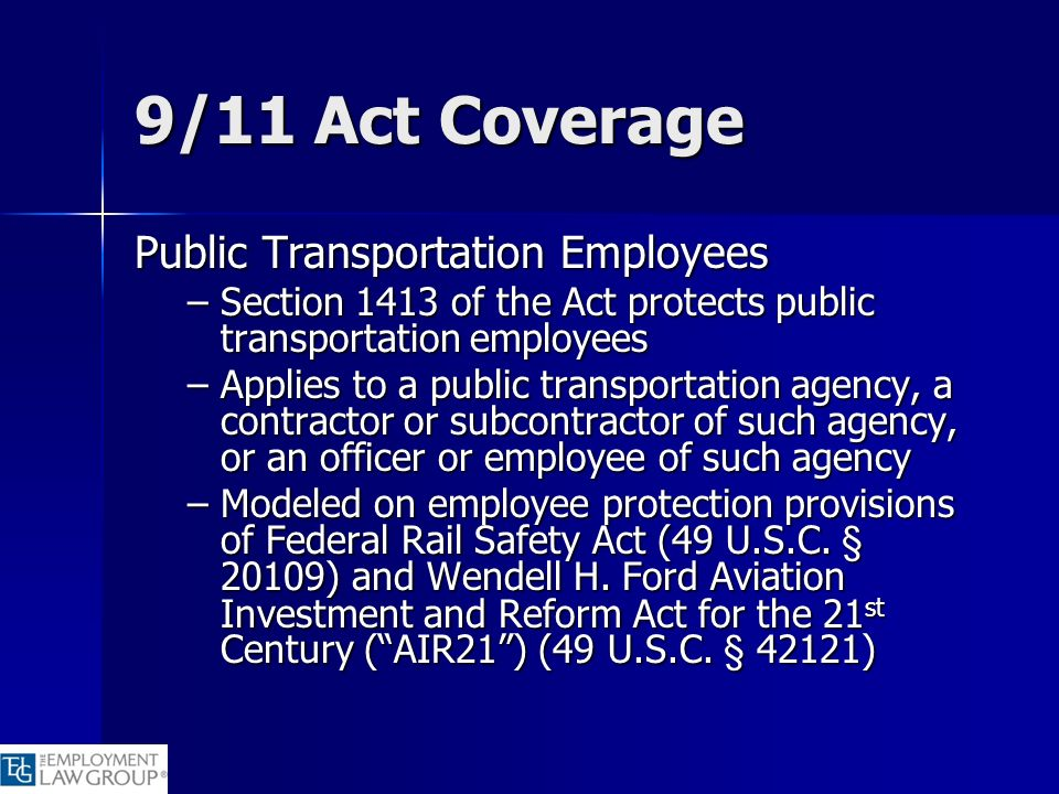 9/11 Act Coverage Public Transportation Employees
