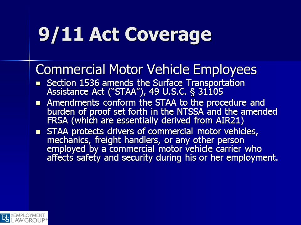 9/11 Act Coverage Commercial Motor Vehicle Employees