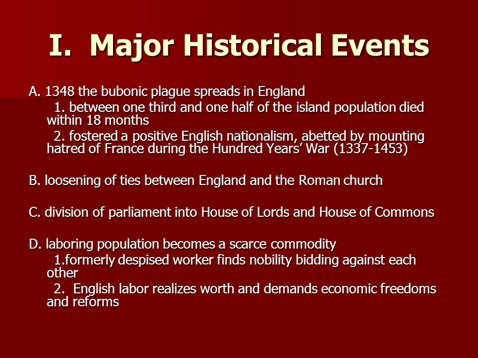 I. Major Historical Events
