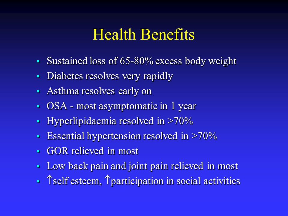 Health Benefits Sustained loss of 65-80% excess body weight