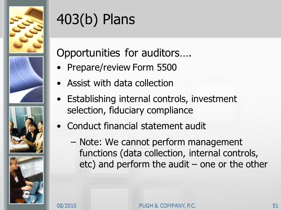 403(b) Plans Opportunities for auditors…. Prepare/review Form 5500