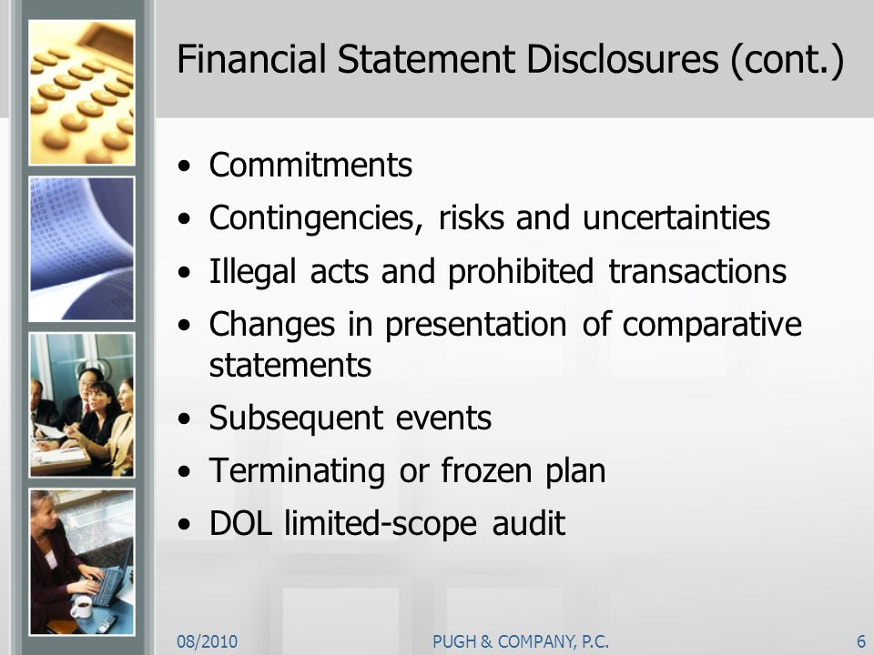 Financial Statement Disclosures (cont.)