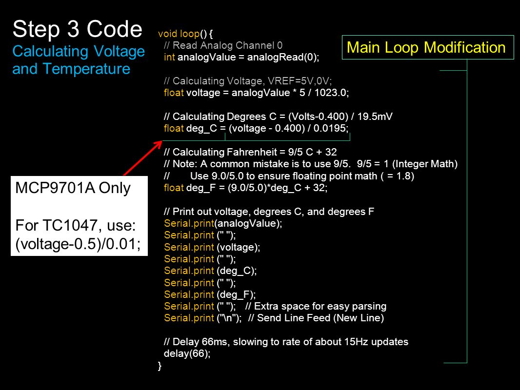 Step 3 Code Calculating Voltage and Temperature