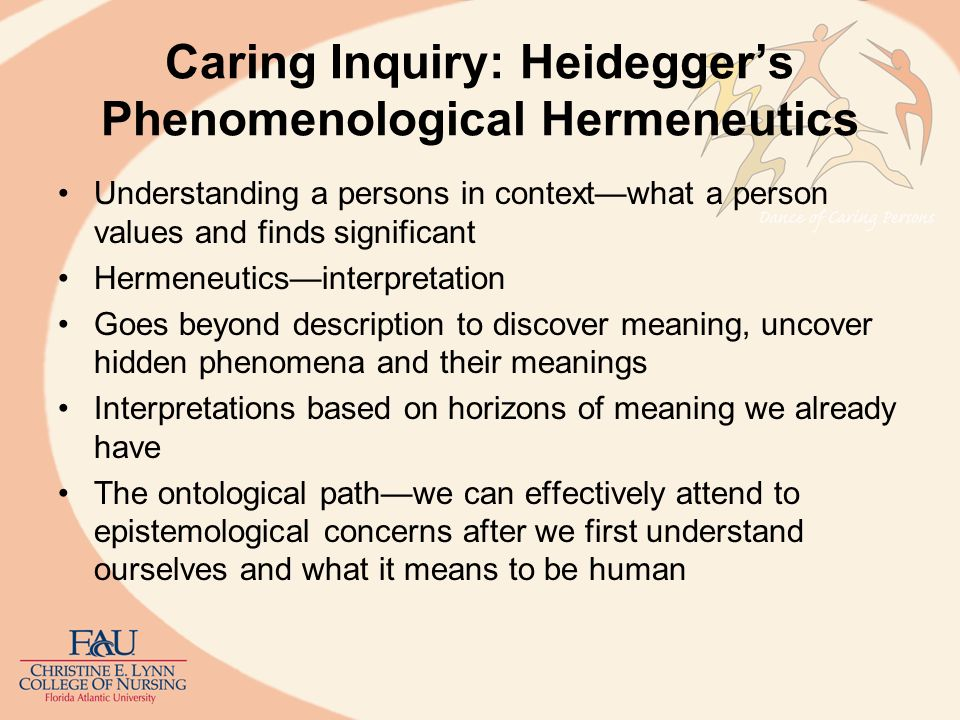 Caring Inquiry: Heidegger's Phenomenological Hermeneutics