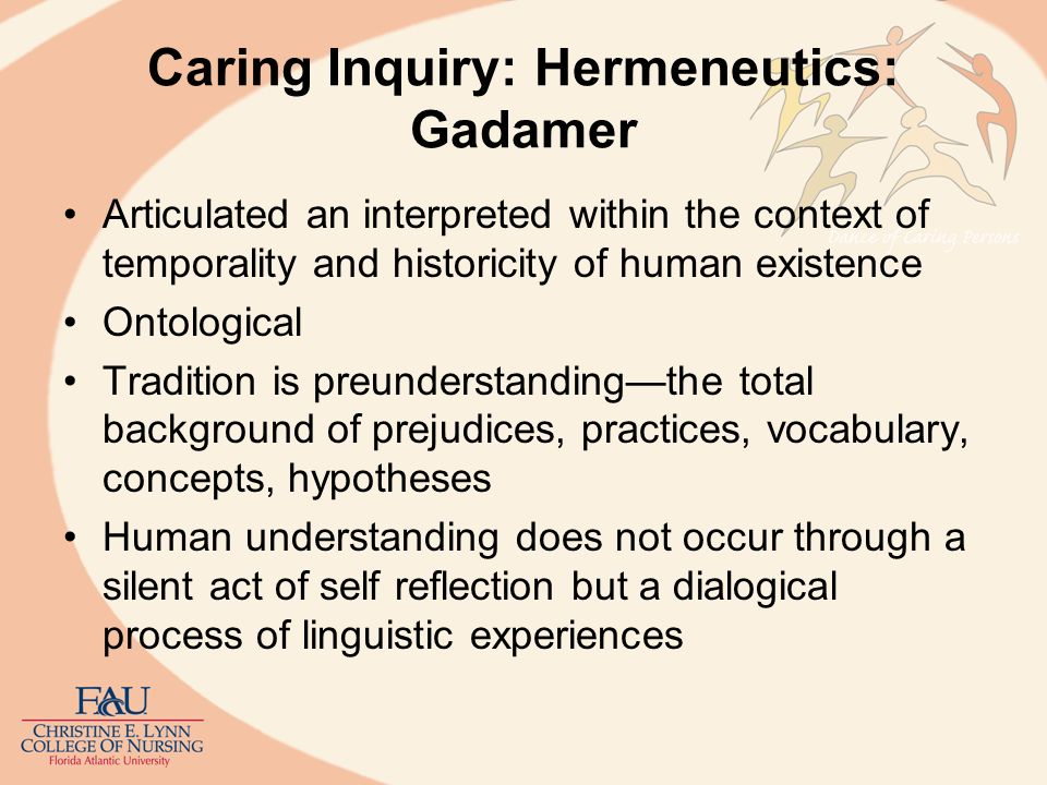 Caring Inquiry: Hermeneutics: Gadamer