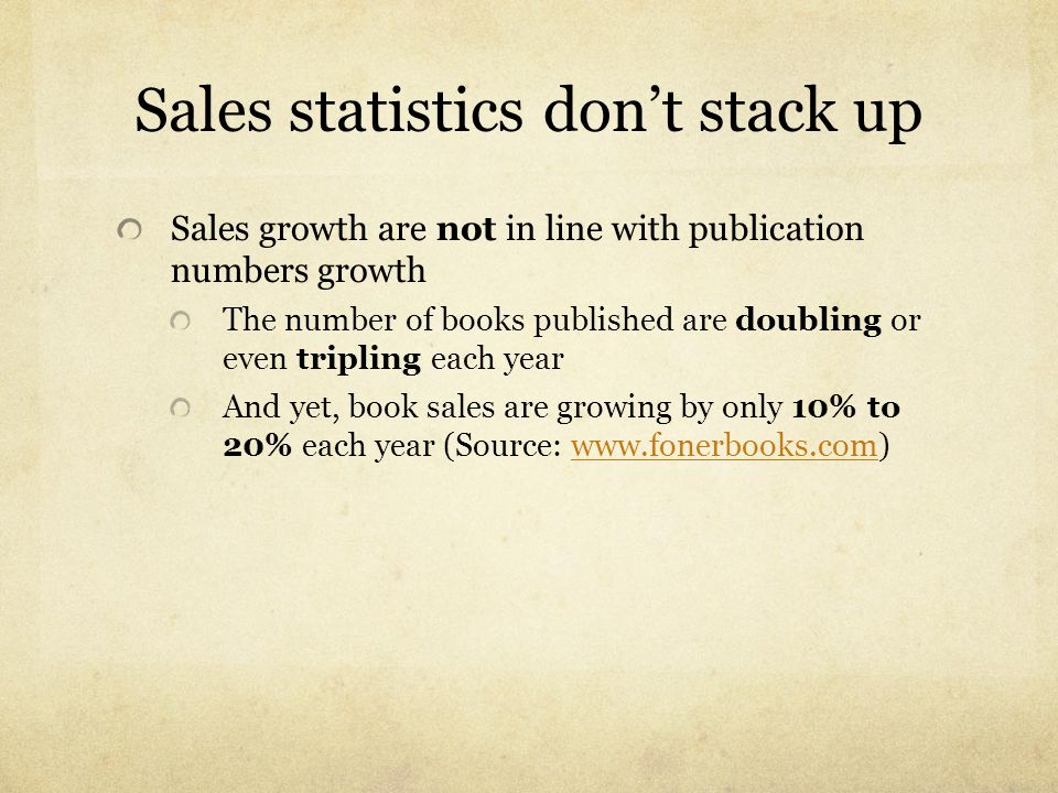Sales statistics don't stack up