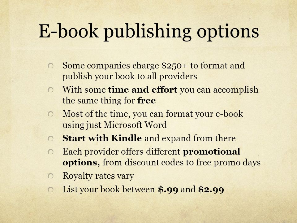 E-book publishing options