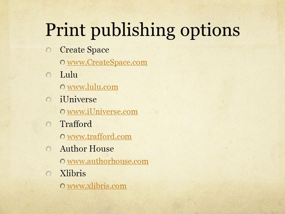 Print publishing options