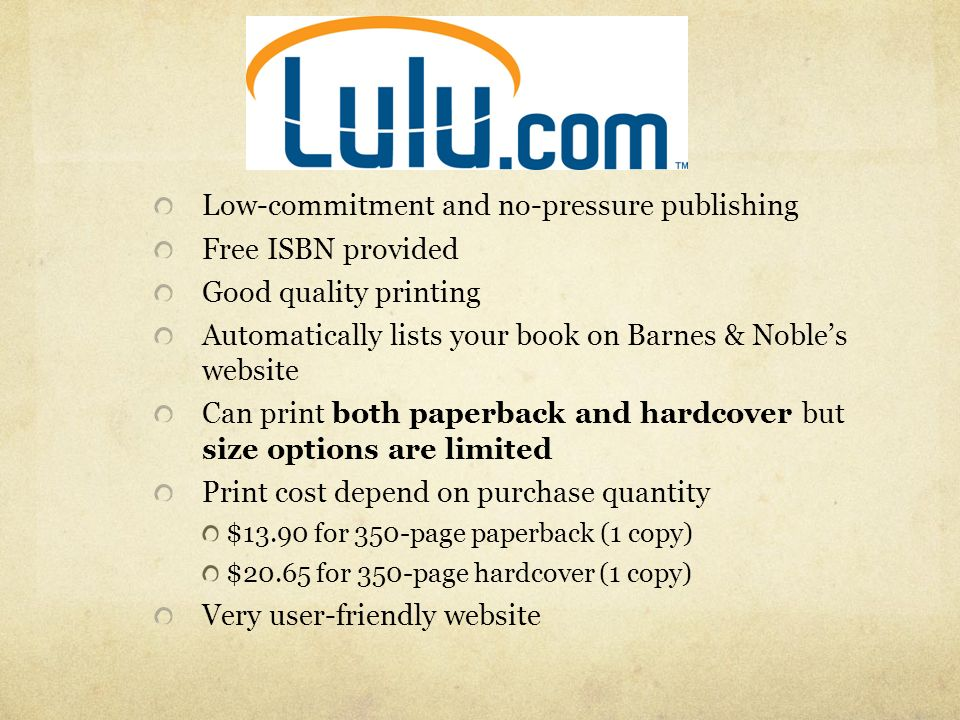 Low-commitment and no-pressure publishing Free ISBN provided