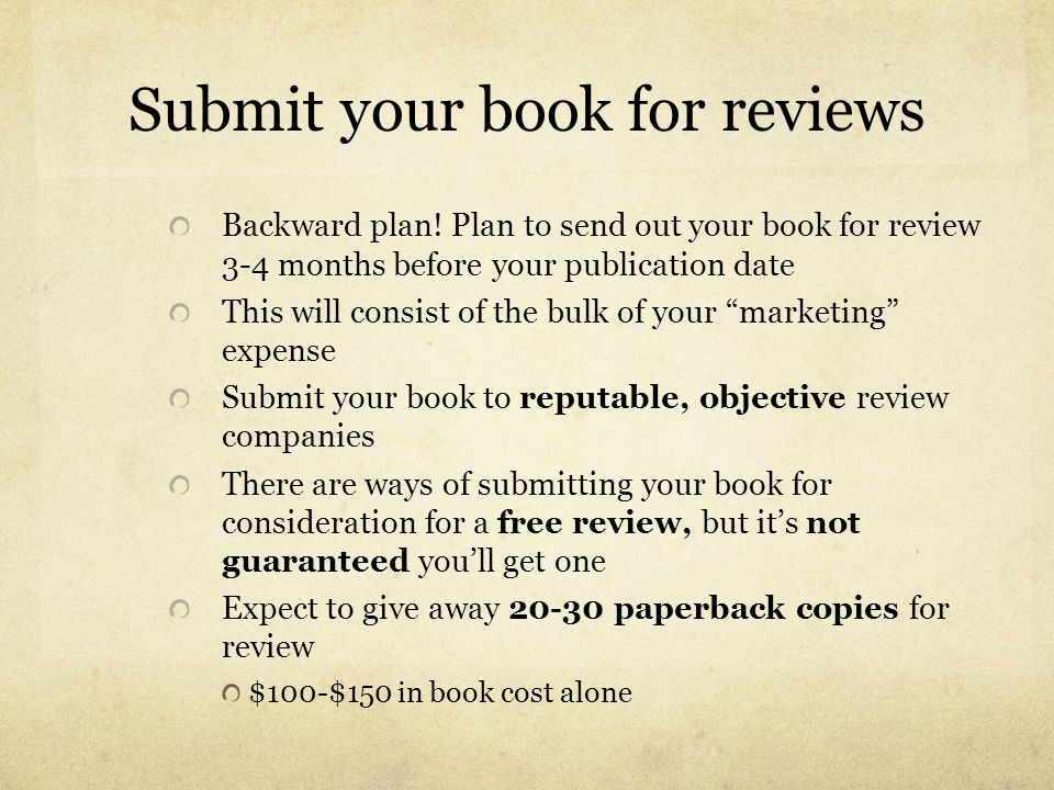 Submit your book for reviews